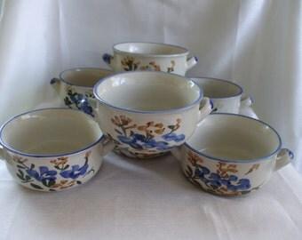 Chi Jiang China Bowls, Floral Pattern, Set of 7 Soup/Cereal/Rice/Oatmeal Bowls