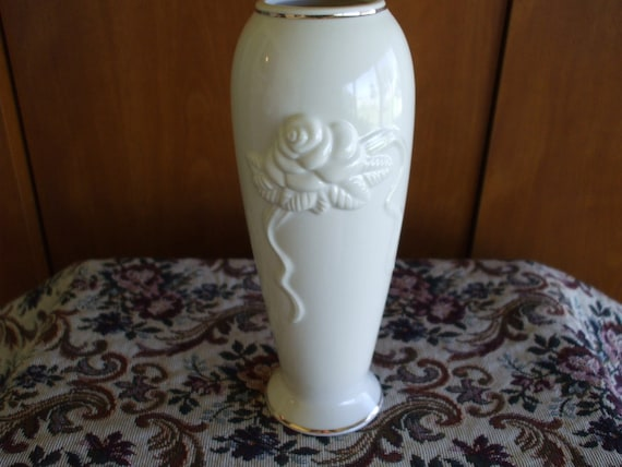 Lenox Bud Vase Embossed Roses And Gold Trim