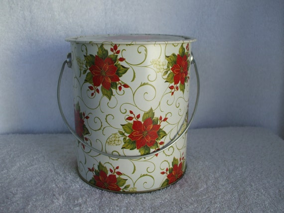 Christmas pail or tin round with handle and red poinsettias for Christmas tin pails