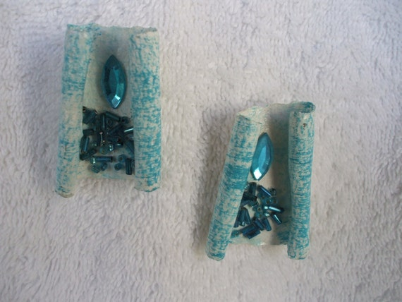 Vtg, Custom Designed Turquoise Earrings, Beaded and Jeweled, Pierced.
