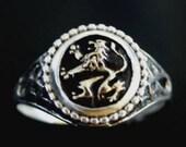 Golden Heraldic Lion Signet Ring