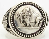 Buffalo Nickel design Coin Mens ring Sterling Silver Large