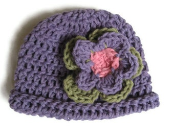 Cotton Beanie with rolled brim and flower for Newborn baby girl-Hat No. 21