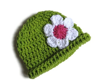 Cotton Beanie with rolled brim and daisy for Newborn Baby Gaga-Hat No. 17