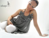 Custom Order for Jen (gray mousseline okapi tunic with knitted ornament)