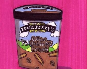 Coffee Heath Bar Crunch-5x7 inch Print from Original Illustration
