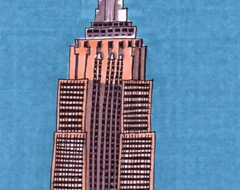 Empire State Building-5x7 inch Print from Original Illustration