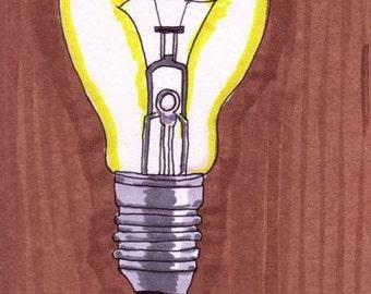 Lightbulb-Original Framed 5x7 inch Illustration