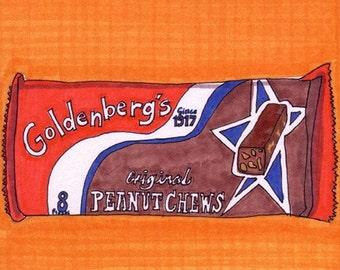 Goldenberg's Peanut Chews-5x7 inch Print from Original Illustration