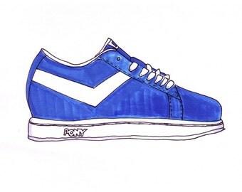 Pony Sneaker-Original Framed 5x7 inch Illustration