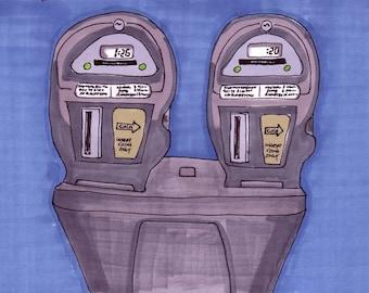 Parking Meter-5x7 inch Print from Original Illustration