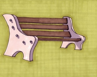 Bench- 5x7 Framed Original Illustration
