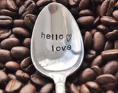 Hello Love - Handstamped Vintage Spoon For COFFEE LOVERS by jessicaNdesigns