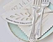 Hand Stamped I Do, Me Too WEDDING Cake forks & Personalized Vintage Wedding Cake Server