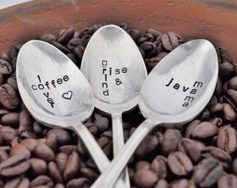 PICK 3 Hand Stamped Scrabble Inspired Vintage Coffee Spoons - For Coffee Lovers