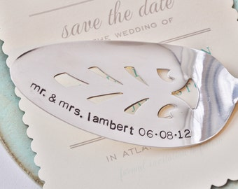 Mr. & Mrs...... PERSONALIZE your own Hand Stamped Vintage Wedding Cake Server - Add the Last Name and Wedding Date of Bride and Groom