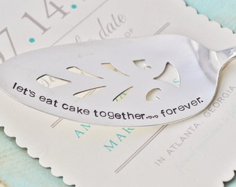 Let's Eat Cake Together...Forever - Hand Stamped Vintage Wedding Cake Server by jessicaNdesigns