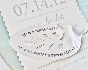 Forever Starts Today - PERSONALIZE your own Hand Stamped Vintage Wedding Cake Server - Add the Names of Bride & Groom and their wedding date