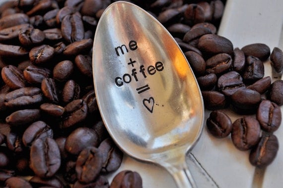 ME plus COFFEE equals LOVE - Hand Stamped Vintage spoon for your Coffee