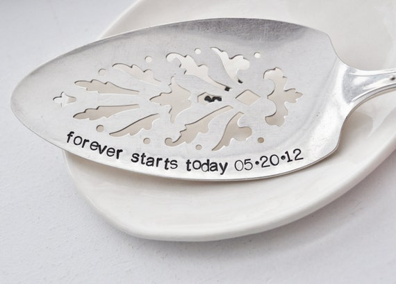 Forever Starts Today -Personalized, Hand Stamped Vintage Wedding Cake Server WITH Your Wedding Date