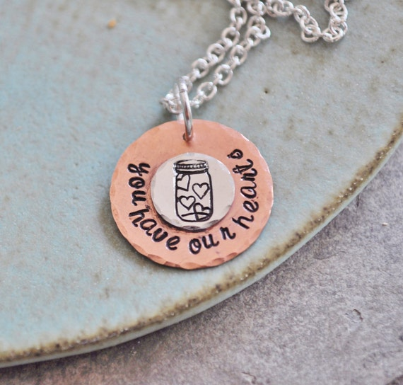 You Have Our Hearts (TM) - Hand Stamped Copper & Silver Necklace - Jar of Hearts Collection
