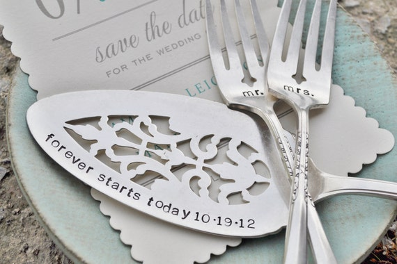 Mr. & Mrs. WEDDING Cake forks with Forever Starts Today (TM) Personalized Vintage Wedding Cake Server - Hand Stamped SET