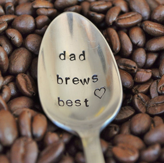 DAD BREWS BEST - Hand Stamped Vintage Coffee Spoon for your Coffee Lovin' Papa (tm)