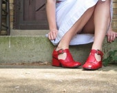 Vintage Spanish Cherry Red T-Strap Heels - Reduced price