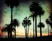 Day's End : summer beach photography palm tree silhouette teal orange california coastal home decor 8x10 11x14 16x20 20x24 24x30