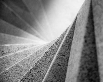 Spiral Staircase : black white stairway steps twist monochrome photography abstract geometric home decor 8x10 11x14 16x20 20x24 24x30