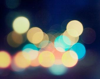 City Lights : abstract photography circle bokeh modern aqua blue magenta yellow color home decor 8x8 10x10 14x14 16x16 20x20 24x24 30x30