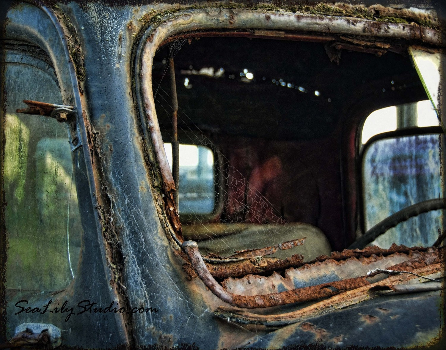 Cracked Rearview 11x14 old truck photography by SeaLilyStudio