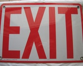 Metal Sign EXIT Industrial Heavy Duty old store stock