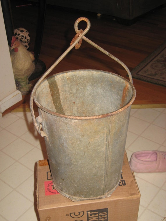 Old galvanized industrial farm bucket no 10 with by for Galvanized well bucket
