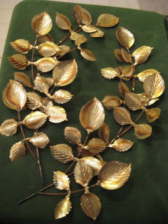 "Two Gold Brass 17"" Leaf Spray Wall Hanging Decor Homco"
