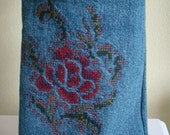 Flower Cross Stitch Denim Satchel