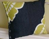 Lime Green Flower Pillow v2