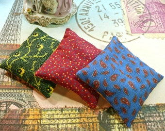 Provencal Lavender Sachets in Blue, Green, Red, and Yellow Vintage Cotton Fabric