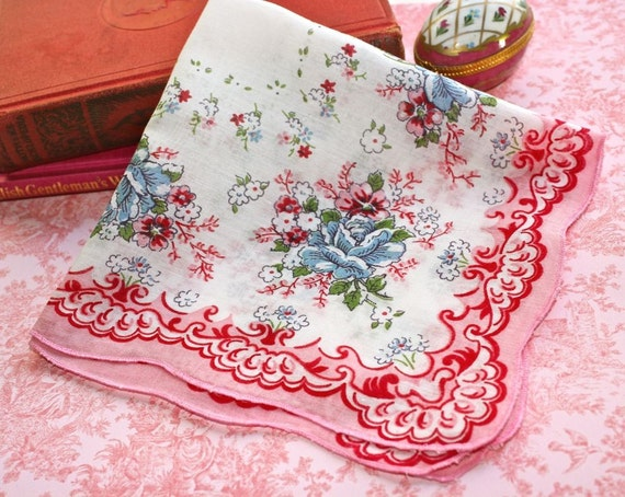 Vintage White Cotton Handkerchief with Pink and Blue Floral Bouquets and Pink and Red Rococo Border