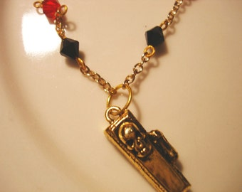 Death - Gold Coffin Necklace with Red and Black Crystals