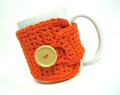LIMITED COLOR AVAILABILITY, Order soon Coffee Mug Cozy Crocheted in Burnt Orange by MontanaDaisyGirl on Etsy