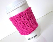 Travel Coffee Cup Cozy in Hot Pink, Tea Cozy, Coffee Accessories, Coffee Gift, Hostess Gift, Coffee Lovers Gift, Coffee Cup Cozy