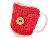 Coffee Mug Cozy in Bright Red by MontanaDaisyGirl on Etsy