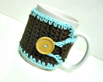 Coffee Cozy in Dark Brown and  Light Aqua, Tea Cozy, Teachers Gift, Coffee Cozy, Coffee Cup Wrap, Coffee Lovers Gift, Coffee Mug Cozy