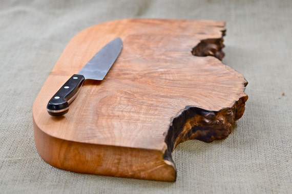 Burl Burst, Large Wood Cutting Board, Natural Edge Salvaged Maple 411