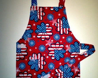Red white and blue child's apron toddler kid children apron patriotic apron - flag and flower print 4th of July Independence Day