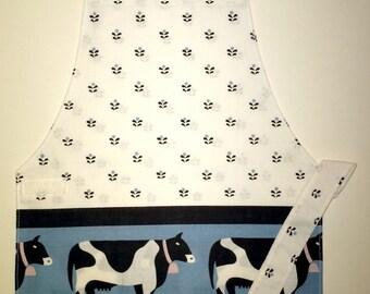 Cow print apron farm animal apron child's apron kid children toddler apron