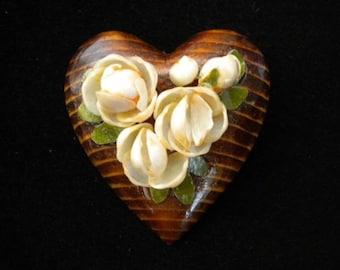 Lovely Wooden Heart Pin