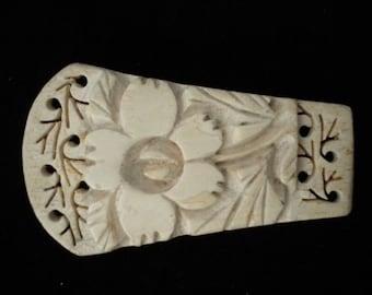 Carved Wooden Floral Clip