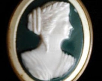 Lovely Celluloid Cameo Pin